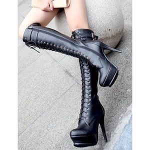 Sexy Faux Leather Heel Lace Up Boots